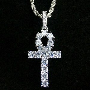 Other - ANKH DIAMONDS CZ 18K WHITE GOLD ROPE CHAIN ITALY